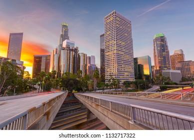 Los Angeles, California, USA skyline over the highways at twilight.