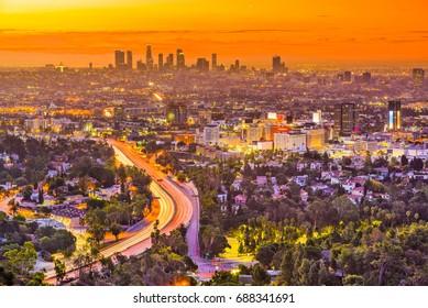 Los Angeles, California, USA skyline.