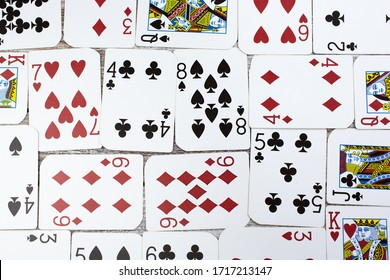 Los Angeles, California/United States - 02/25/2020: A top down view of playing cards as a background.