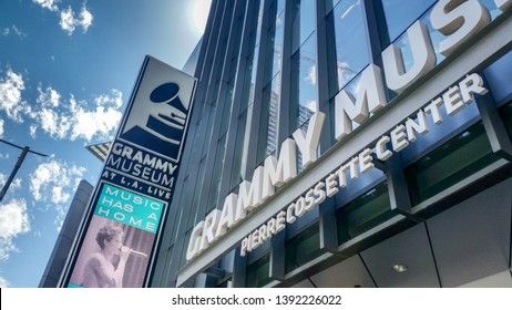 Los Angeles, California/United States - 04/19/2019: A store front sign for the Grammy Museum