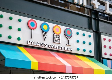 Los Angeles, California/United States - 06/25/2019: A store front sign for Dylan's Candy Bar shop, located at The Original Farmers Market