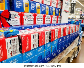 Los Angeles, California/United States - 07/01/2020: A view of a grocery store display featuring Budweiser and Bud Light beer cases.