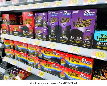Los Angeles, California/United States - 07/01/2020: A view of several cases of 5-Hour Energy Drink, on display at a local grocery store.