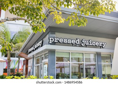 Los Angeles, California/United States - 07/19/2019: A store front sign for the juice shop known as Pressed Juicery