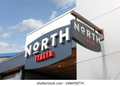 Los Angeles, California/United States - 07/19/2019: A store front sign for the casual Italian restaurant chain known as North Italia