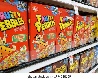 Los Angeles, California/United States - 07/22/2020: A view of several boxes of Fruity Pebbles, on display at a local grocery store.