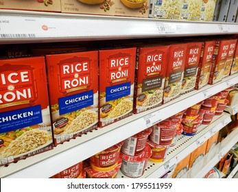 Los Angeles, California/United States - 07/22/2020: A view of several packages of Rice-A-Roni, on display at a local grocery store.