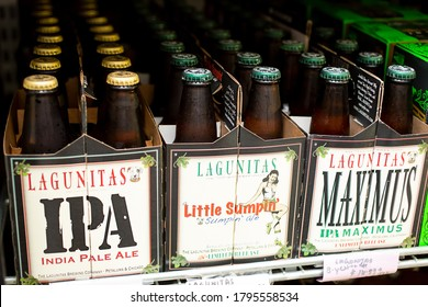 Los Angeles, California/United States - 07/22/2020: A view of several 6-pack cases of Lagunitas bottled beer, on display at a local liquor store.