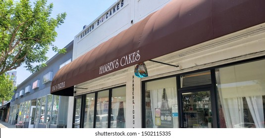 Los Angeles, California/United States - 08/22/2019: A store front sign for the custom cake design shop known as Hansen's Cakes