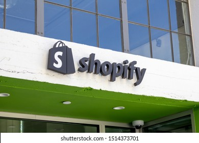 Los Angeles, California/United States - 08/25/2019: A store front sign for the online company known as Shopify