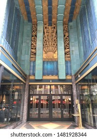 Los Angeles, California/US - August 18th, 2019: Eastern Columbia Building.  Entry to the Art Deco Building, designed by Claud Beelman.