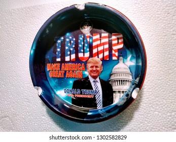 Los Angeles, California/US - February 2, 2019: President Trump novelty ashtray
