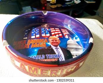 Los Angeles, California/US -November 1, 2016: Donald Trump novelty ashtray