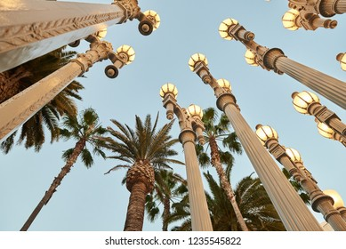"""Los Angeles, California/USA - 10/24/2018. """"Urban Lights"""" at the Los Angeles County Museum of Art, LACMA. Installation by Chris Burden"""