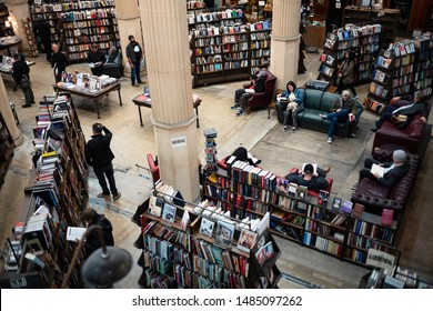 Los Angeles, California/USA - Dec 28, 2018 Patrons browse the selection of periodicals at The Last Bookstore, which claims to be California's largest used and new book and record store.