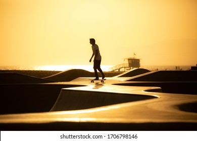 Los Angeles, California/USA - july 2019 : At the skate park in Venice beach, photo of a skater alone after the busy day