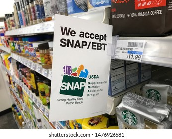 Los Angeles, California/USA. July 31, 2019. The interior of a retail store in California displaying their participation in the SNAP program.