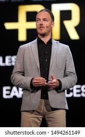 Los Angeles, California/USA-  June 04, 2012: Patrick Bach speaks about 'Battlefield 3' during the 2012 Electronic Arts EA E3 press conference at the Orpheum Theater.