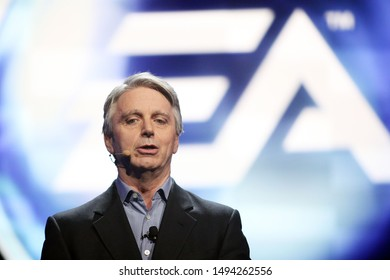 Los Angeles, California/USA- June 4, 2012: CEO of Electronic Arts John Riccitiello speaks at the 2012 Electronic Arts EA E3 press conference at the Orpheum Theater.