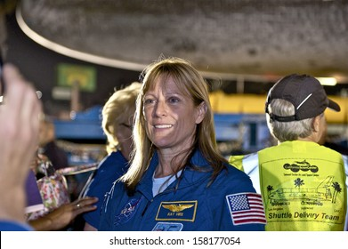 LOS ANGELES, CALIFORNIA/USA - OCTOBER 13, 2012:  Astronaut Kay Hire of NASA's Space Shuttle Endeavour, as it's transported through neighborhood streets on October 13, 2012 in Los Angeles, California.
