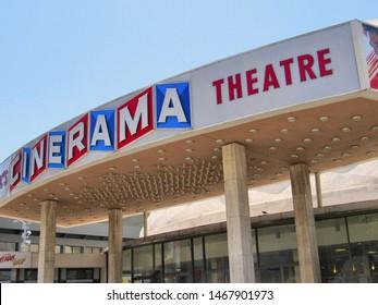 Los Angeles, Calif./USA-7/7/18: Hollywood's landmark mid-century modern movie theater Cinerama, on Sunset Blvd.