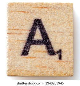 Los Angeles, CA/USA 02/24/2019 Wooden Scrabble letter A on white background from above