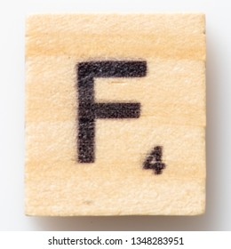 Los Angeles, CA/USA 02/24/2019 Wooden Scrabble letter F on white background from above