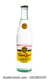Los Angeles, CA/USA 06/11/2019  bottle of topo chico brand mineral sparking water on white background