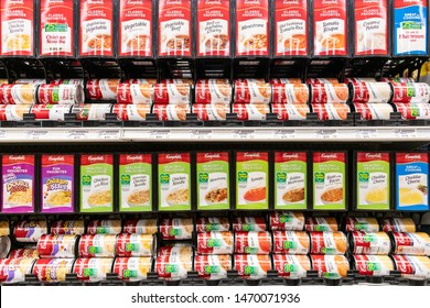Los Angeles, CA/USA 07/23/2019  Assorted Campbell's soups and creams tin cans for sale in a supermarket shelf