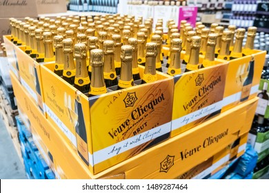 Los Angeles, CA/USA 08/21/2019 Bottles of Veuve Clicquot French Champagne for sale in a supermarket aisle