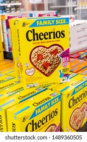 Los Angeles, CA/USA 08/21/2019 Packages of  General Mills Brand Whole Grain Cheerios cereal for sale   in a supermarket aisle