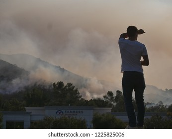 Los Angeles, CA/USA - 11/09/2018 Woolsey Fire, Wildfire in California. Smoke billowing overhead. Woolsey Fire, natural disaster