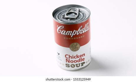 Los Angeles, CA/USA 11/5/2019 Tin can of Campbells brand Chicken Noodle Soup on White Background