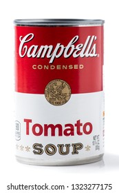 Los Angeles CA/USA 2/25/2019. Campbells brand tomato soup on white background