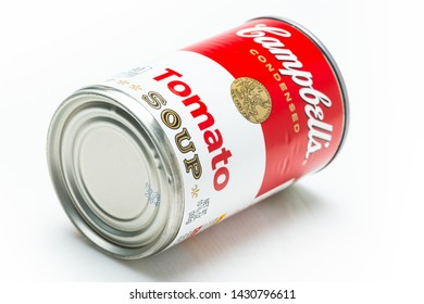 Los Angeles, CA/USA 6-21-2019 Can tin of Campbell's brand tomato soup on white background