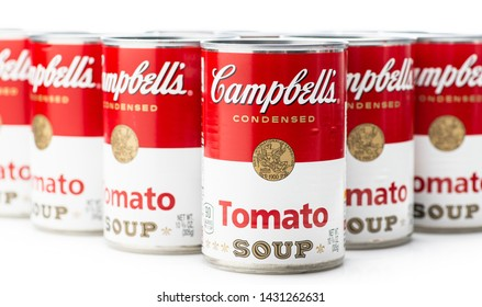 Los Angeles, CA/USA 6-21-2019 Can tins of Campbell's brand tomato soup on white background