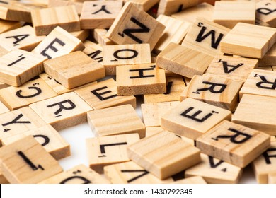 Los Angeles, CA/USA 6-21-2019 Heap of scrabble tile letters from above full frame