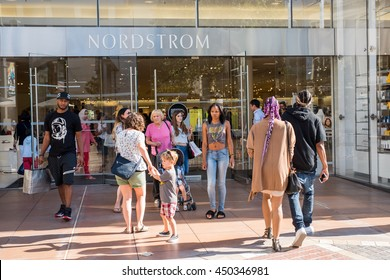 Los Angeles, CA/USA: 7/10/2016: Nordstrom store at The Grove shopping mall in the Los Angeles area.  Nordstrom is a luxury fashion retailer that was founded in 1901.