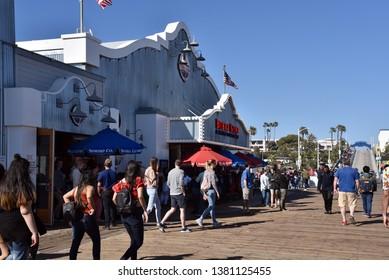 LOS ANGELES, CA/USA  - APRIL 11, 2019: The famous Bubba Gump Shrimp Co on the Santa Monica Pier