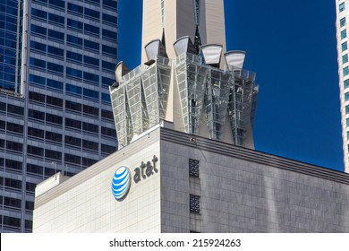 LOS ANGELES, CA/USA - AUGUST 30, 2014: AT&T urban skyscraper. AT&T is the largest provider of mobile telephone and the largest provider of telephone service in the United States