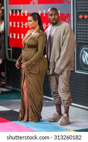 LOS ANGELES, CA/USA - AUGUST 30 2015: Kim Kardashian-West and Kanye West attend the 2015 MTV Video Music Awards at Microsoft Theater.
