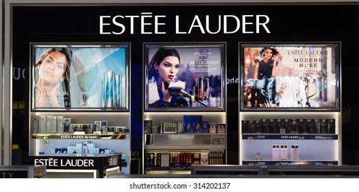 LOS ANGELES, CA/USA - AUGUST 4, 2015: Estee Lauder store display. Estee Lauder is an American manufacturer and marketer of high-end skincare, makeup, fragrance and hair care products.