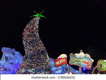 Los Angeles, CA/USA - December 25, 2018: Merry Christmas cover, Grinch, GRINCH tree, Merry Grinchmas, christmas digital card, grinch sign, christmas digital background, Universal Studios Hollywood,
