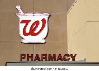 LOS ANGELES, CA/USA - December 6, 2015: Walgreens store exterior and logo. Walgreens is the largest drug retailing chain in the United States.