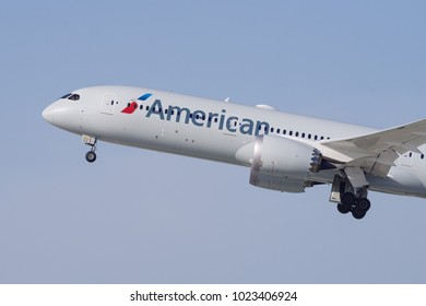 LOS ANGELES, CA/USA - FEBRUARY 11, 2018: American Airlines aircraft (Boeing 787) taking off from the Los Angeles International airport, LAX.