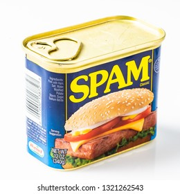 Los Angeles, CA/USA February 23, 2019. A 12 oz Can tin of SPAM brand meat on white background