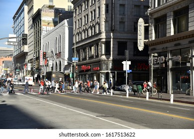 LOS ANGELES, CA/USA - JANUARY 2, 2020: Old historic Walgreen's and Rite Aid Stores in the LA Broadway Theatre District