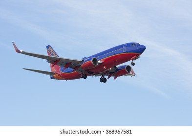 LOS ANGELES, CA/USA - JANUARY 28, 2016: Southwest Airlines jet (Boeing B737) shown shortly before landing at the Los Angeles World Airport (LAX).