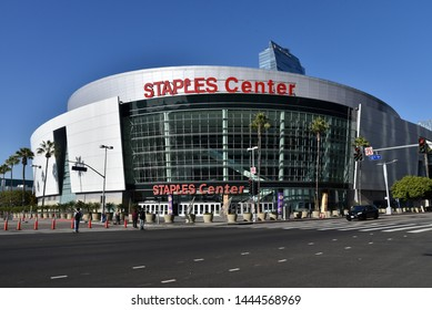 LOS ANGELES, CA/USA  - JANUARY 3, 2019:  South entrance of the Staples Center on Figeuroa Street