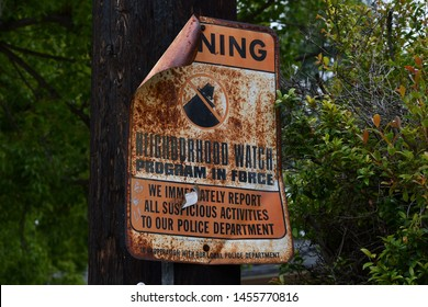 Los Angeles, CA/USA - July 1, 2019: Neighborhood Watch sign